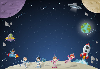 Astronaut cartoon characters on the moon with a alien spaceship. Solar System.