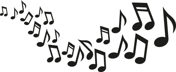 Music notes wave Wall mural
