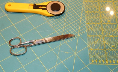 cutter and scissors on the worktop
