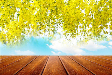 empty wooden for advertising board on blue sky with beautiful spring yellow flower background