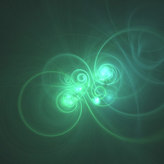 glowing green curved lines and circles over dark Abstract Background. Illustration