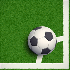 Soccer ball on grass. Football stadium. Stock vector illustratio