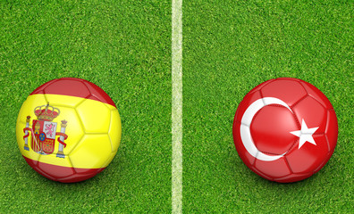 Team balls for Spain vs Turkey football tournament match, 3D rendering