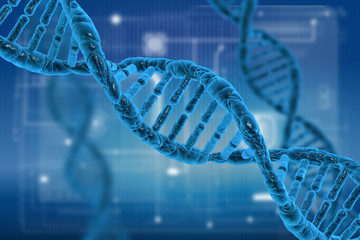 DNA and virus molecules on science background