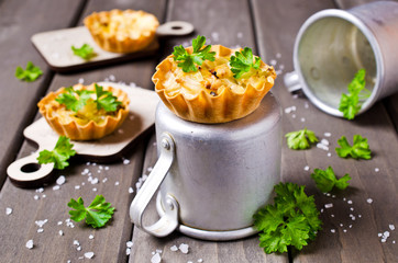 Homemade tartlets with cabbage