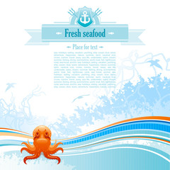 Sea travel background design for seafood restaurant in blue colors with net, foam, wave and seagulls and octopus icon.