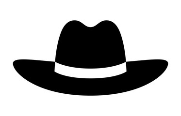 Cowboy hat or stetson hat flat icon for apps and websites