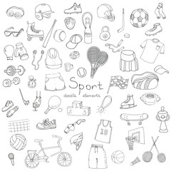 Hand drawn doodle sport set. Vector illustration. Sketchy sport related icons, tennis, golf, baseball, basketball, football, soccer, volleyball, rugby, hockey, fitness, boxing, running, bicycle