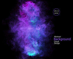 Vector abstract cloud. Smoke design. Vector illustration of deep blue, violet and purple, smoke on black. Abstract banner paints. Background for banner, card, poster, identity, web design