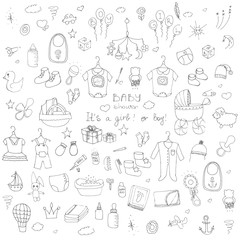 Set of baby shower design vector illustration icons, hand drawn baby care elements, Baby boy and girl shower design icons, kid's clothing, toy, bib, nappy, carriage, socks, bottle, baby foot print