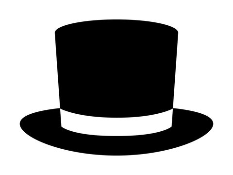 Magic top hat or high hat flat icon for apps and websites