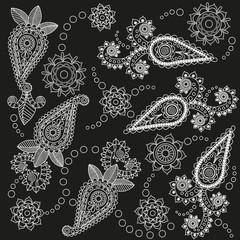 Ornate Paisley Pattern Doodle Vector Design on Black