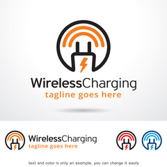 Wireless Charging Logo Template Design Vector