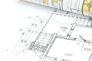 architectural plan, roll and technical project drawing