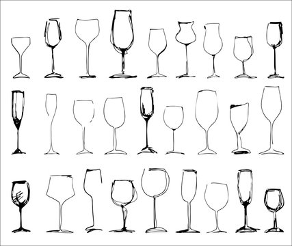 Wine glass set - collection of sketched wineglasses and silhouette