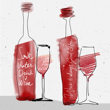 wine glass and bottle, red watercolor sketched silhouette