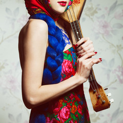 Stylish Russian Girl Concept. Portrait of beautiful young woman