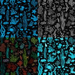 Set of seamless sea/ocean underwater patterns.