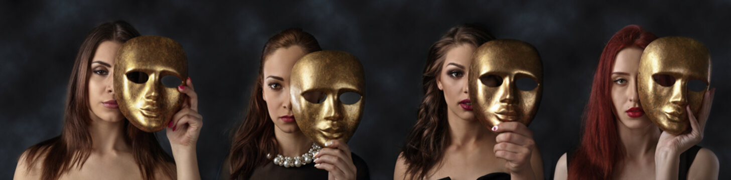 women hiding faces behind golden masks