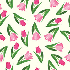 Romantic hand drawn background with tulips.