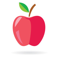 Red Apple with leaf icon. Apple vector design.