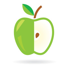 Apple icon. Green apple cut. Apple with seed. Vector design.