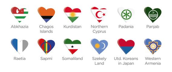 Moderne Symbole Herz Icons der Teilnehmer am Abchasien Fussball Turnier 2016