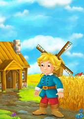 Beautifully colored scene with cartoon character - young man standing and watching on wooden house - windmill in the background - illustration for children