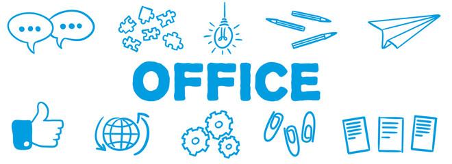 Stick Figure Series Banner Blue / Office