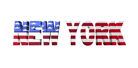 3D new york text on white background