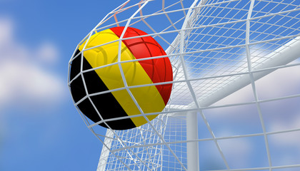 Soccer Euro 2016,Football Belgium flag shooting Goal with blurred blue sky background.3D Rendering