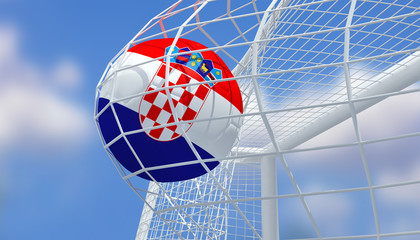 Soccer Euro 2016,Football Croatia flag shooting Goal with blurred blue sky background.3D Rendering