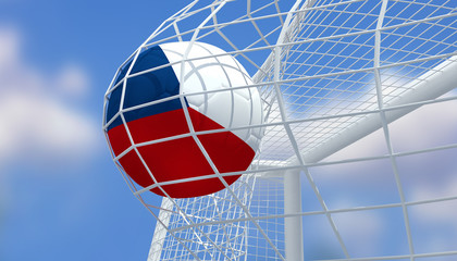 Soccer Euro 2016,Football Czech Republic flag shooting Goal with blurred blue sky background.3D Rendering