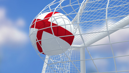 Soccer Euro 2016,Football England flag shooting Goal with blurred blue sky background.3D Rendering