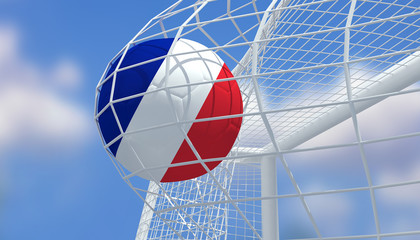 Soccer Euro 2016,Football France flag shooting Goal with blurred blue sky background.3D Rendering
