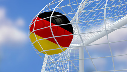 Soccer Euro 2016,Football Germany flag shooting Goal with blurred blue sky background.3D Rendering