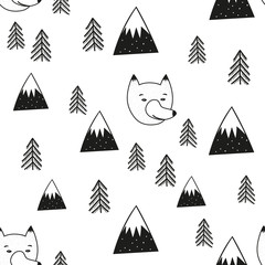 Wolf head, pine trees and mountains seamless pattern.