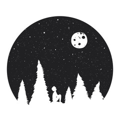 Vector illustration with boy silhouette, starry night with the Moon and pine forest