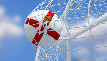 Soccer Euro 2016,Football Northern Ireland flag shooting Goal with blurred blue sky background.3D Rendering
