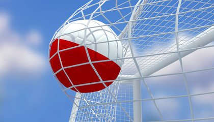 Soccer Euro 2016,Football Poland flag shooting Goal with blurred blue sky background.3D Rendering