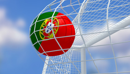 Soccer Euro 2016,Football Portugal flag shooting Goal with blurred blue sky background.3D Rendering