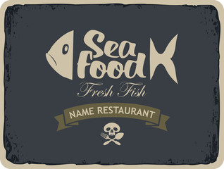 Retro banner for seafood restaurants with fish and Jolly Roger skull and cutlery