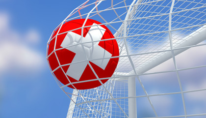 Soccer Euro 2016,Football Switzerland flag shooting Goal with blurred blue sky background.3D Rendering