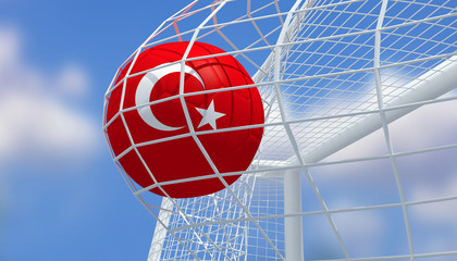 Soccer Euro 2016,Football Turkey flag shooting Goal with blurred blue sky background.3D Rendering