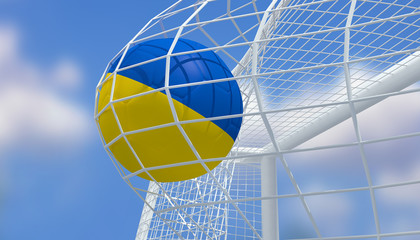 Soccer Euro 2016,Football Ukraine flag shooting Goal with blurred blue sky background.3D Rendering