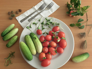 Cucumbers, tomatoes on plate, vegetarian food decotated sunflower sprouts