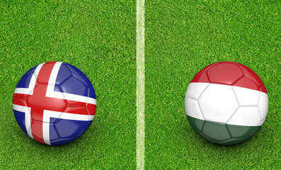 Team balls for Iceland vs Hungary football tournament match, 3D rendering