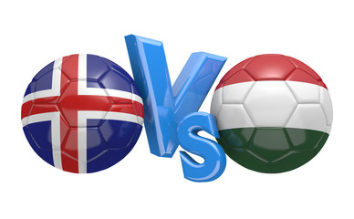 Football competition between national teams Iceland and Hungary, 3D rendering