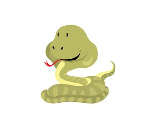Flat Animal Character Logo - Snake