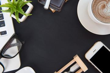 Desk Flat lay, office floors, dark wood desk table with computer